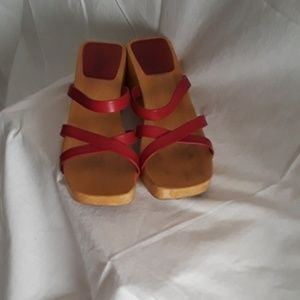 Vintage J. Crew Wooden Wedge Sandals Size 8